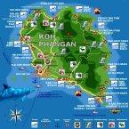 Karte Koh Phangan ( Map ko Pha-Ngan)