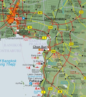 Bangkok-Pattaya Map / �bersichtskarte